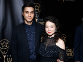 Broadway BFFs Gideon Glick and Sarah Steele attend the Lucille Lortel Awards.