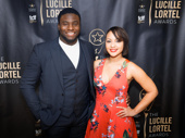 Hamilton original cast members Okieriete Onaodowan and Jasmine Cephas Jones reunite at the Lucille Lortel Awards.