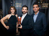 Annie Parisse and Bobby Cannavale presented Oslo's Michael Aronov with the award for Outstanding Featured Actor in a Play.