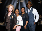 Sweat's Johanna Day, Michelle Wilson, scribe Lynn Nottage and Khris Davis get excited for Nottage's Playwright Sidewalk honor.