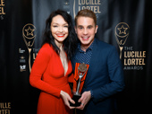 The Band's Visit star Katrina Lenk and Dear Evan Hansen's Ben Platt are all smiles for their Lucille Lortel wins.