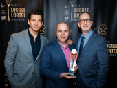 Andy Karl and Adam Siegel presented Oslo scribe J.T. Rogers with his Lucille Lortel award for Outstanding Play.