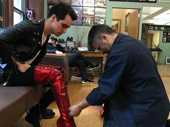Don't panic! Kinky Boots-bound star Brendon Urie tries on the show's signature red heels. The Panic! at the Disco frontman begins performances on May 26.(Photo: Instagram.com/panicatthedisco)