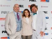 The Public Theater's Executive Director Patrick Willingham, Board Chair Arielle Tepper Madover and Artistic Director Oskar Eustis get together.