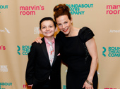 Luca Padovan, Lili Taylor, who play nephew and aunt in Marvin's Room, smile on the red carpet.