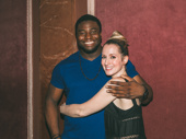 Oak and The Great Comet co-star Ingrid Michaelson hug it out.