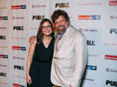 Directors' corner! A Midsummer Night's Dream director Lear deBessonet and the Public Theater's Artistic Director Oskar Eustis are all smiles for opening night.