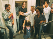 Broadway shenanigans! Joe Tippett, Brandon Kalm, Jeremy Morse, Dayna Jarae Dantzler, Ella Dane Morgan and Drew Gehling share a laugh backstage.