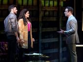 Mauricio Martinez as Emilio Estefan, Christie Prades as Gloria Estefan and Devon Goffman as Phil in the national tour of On Your Feet.