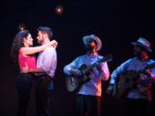 Christie Prades as Gloria Estefan, Mauricio Martinez as Emilio Estefan, Danny Burgos and Omar Lopez-Cepero in the national tour of On Your Feet.