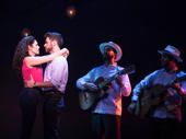 Christie Prades as Gloria Estefan, Mauricio Martinez as Emilio Estefan, Danny Burgos and Omar Lopez-Cepero in the national tour of On Your Feet.