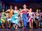 Christie Prades as Gloria Estefan, Adriel Flete and the company of the national tour of On Your Feet.