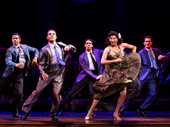 Joseph Rivera, Adriel Flete, Adam Rey and Nancy Ticotin as Gloria Fajardo in the national tour of On Your Feet.
