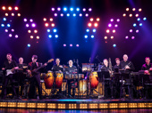 The band of the national tour of On Your Feet, featuring Clay Ostwald, Jorge Casas, Edward Bonilla and Theodore Mulet.
