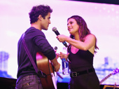 Reunited and it feels so good! Glee alums Darren Criss and Lea Michele take the stage at Elsie Fest.(Photo: Jenny Anderson/Getty Images)