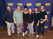 SpongeBob SquarePants' Brian Ray Norris, Danny Skinner, Lilli Cooper, Ethan Slater, Wesley Taylor and Gavin Lee snap a photo.