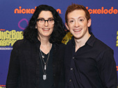 SpongeBob SquarePants director Tina Landau takes a photo with star Ethan Slater.