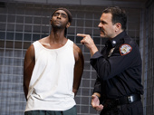 Edi Gathegi as Lucius Jenkins and Ricardo Chavira as Valdez in Jesus Hopped the A Train.