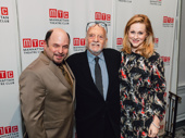 Stage and screen greats Jason Alexander and Laura Linney take a photo with Harold Prince.