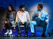 Rachel Prather as Julia, Etai Benson as Papi and Ari'el Stachel as Haled in The Band's Visit