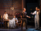 Kristen Sieh as Iris, John Cariani as Itzik, Alok Tewari as Simon, Andrew Polk as Avrum and George Abud as Camal in The Band's Visit