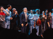 Director David Cromer bows with the cast.