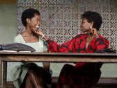 MaameYaa Boafo as Paulina and Zainab Jah as Eloise in School Girls; Or, The African Mean Girls Play.