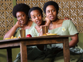 Mirirai Sithole as Mercy, Abena Mensah-Bonsu as Nana and Paige Gilbert as Gifty in School Girls; Or, The African Mean Girls Play.