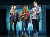 Barrett Wilbert Weed as Janis, Erika Henningsen as Cady and Grey Henson as Damian in Mean Girls.