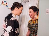Kara Lindsay and Nancy Opel hang backstage before curtain.