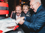 Barry Weissler, Charlotte d'Amboise and Walter Bobbie cut the first celebratory slice.
