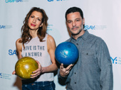Alysia Reiner and David Alan Basche take a photo.