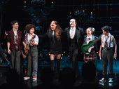 Sarah Brightman, Peter Jöback and kid rockers from the original cast of School of Rock share a bow.
