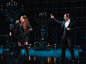 Original Christine Sarah Brightman and current Phantom Peter Jöback sing out the show's title song in a surprise performance.
