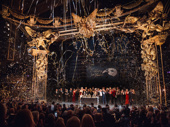 "Streamers rain down as the original Broadway cast of Phantom of the Operasings ""Masquerade."""