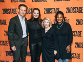 Carole Rothman takes a photo with Second Stage Board members Tony Goldwyn, Brooke Shields and Lynn Nottage.