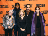 Pulitzer Prize-winning playwright Paula Vogel, Tony-winning director Kenny Leon, The Band's Visit's Tony Shalhoub and his wife, actress Brooke Adams, snap a photo with Carole Rothaman.