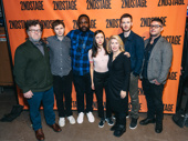 Lobby Hero's scribe Kenneth Lonergan, stars Michael Cera, Brian Tyree Henry, Bel Powley, Chris Evans and director Trip Cullman snap a photo with Carole Rothman. The show will reopen the Hayes Theater.