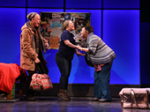 Mark Blum as Jacob, Jamie Brewer as Amy and Vanessa Aspillaga as Kathy in Amy and the Orphans.