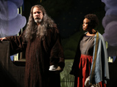 Thomas Jay Ryan as Larking and Quincy Tyler Bernstein as Hollis in The Amateurs,