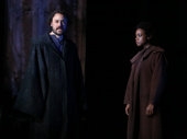 Greg Keller as Physic and Quincy Tyler Bernstein as Hollis in The Amateurs.