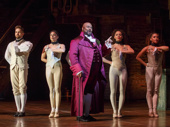 James Monroe Iglehart as Thomas Jefferson and the cast of Hamilton.