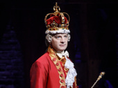 Euan Morton as King George in Hamilton.