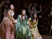 Mandy Gonzalez as Angelica, Lexi Lawson as Eliza and Joanna A. Jones as Peggy in Hamilton.