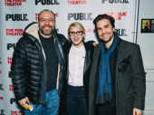 Danny Burstein, Annaleigh Ashford and Joe Tapper cheer the cast on opening night.