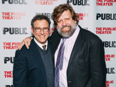 Director Michael Greif and Public Theater Artistic Director Oskar Eustis celebrate side by side.