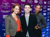 Harry Potter and the Cursed Child cast members Poppy Miller, Anthony Boyle and Noma Dumezweni, are on the scene.