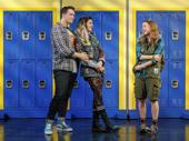 Grey Henson as Damien, Barrett Wilbert Weed as Janis and Erika Henningsen as Cady in Mean Girls.