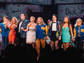 So many stars! Mean Girls' Kyle Selig, Kate Rockwell, Grey Henson, Taylor Louderman, Erika Henningsen, Barrett Wilbert Weed, Ashley Park and Kerry Butler take their opening night bow.