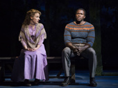Jessie Mueller as Julie Jordan and Joshua Henry as Billy Bigelow in Carousel.
